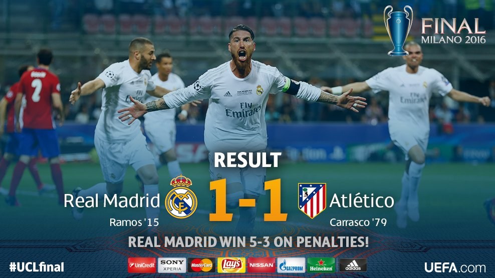 Real Madrid beat Atletico Madrid 5-3 on penalties to win Champions League final