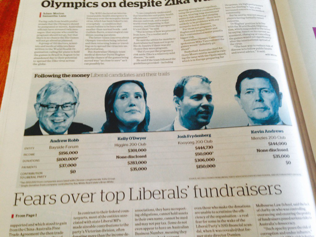 The Big 4 Libs across Melbourne's wealthiest seats are effectively running slush funds like the trade union bosses. https://t.co/gTJ2DmAc6z