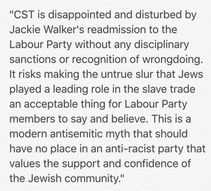 CST statement on Jackie Walker's readmission to the Labour Party. https://t.co/DRYNENJOnN