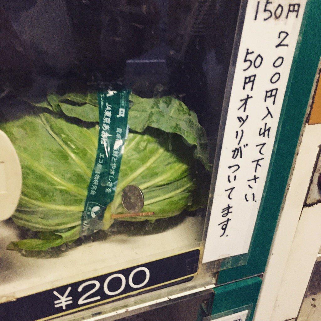 先日見かけた直売所。オツリはキャベツに刺さってるんですよ。 pic.twitter.com/FoVgcUypS8