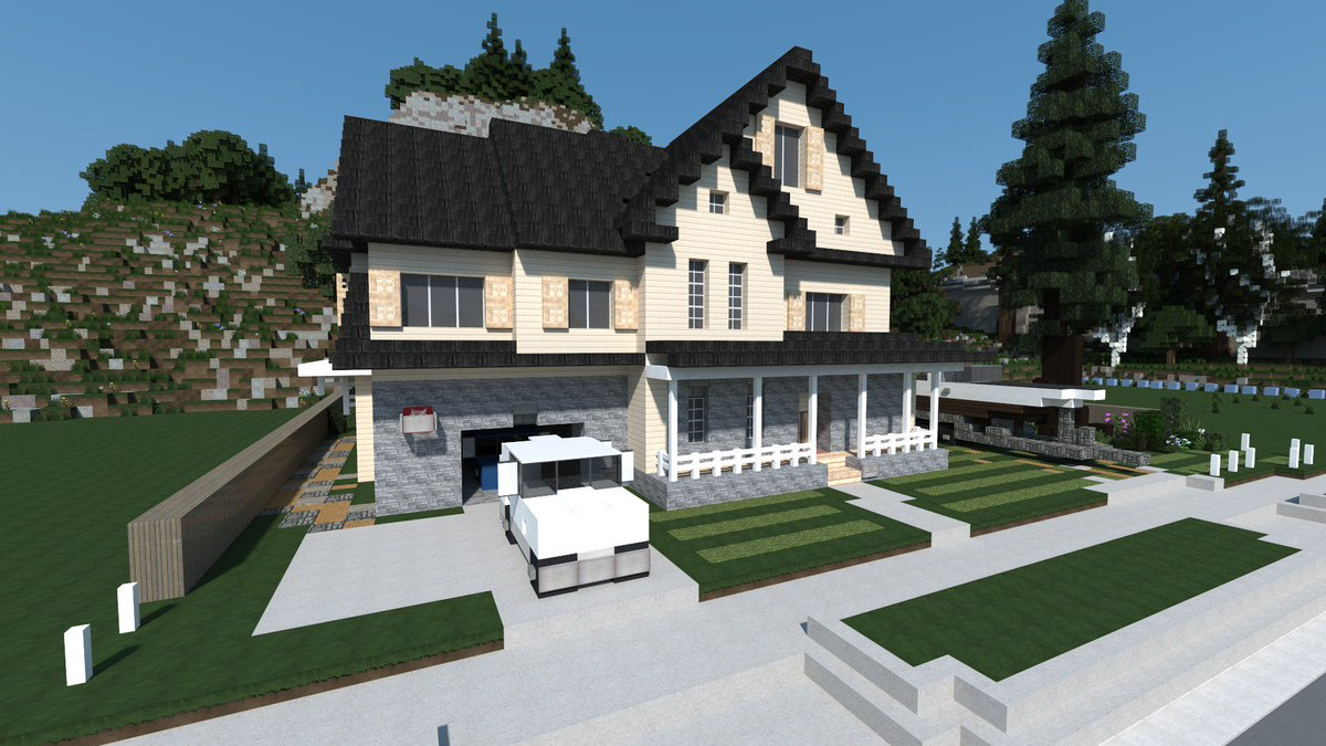 amberstone on twitter maison am ricaine traditionnelle usa house minecraft architecture. Black Bedroom Furniture Sets. Home Design Ideas