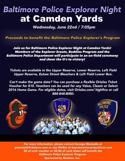 Come out and see the Baltimore @Orioles and help support the Police Explorers!!!