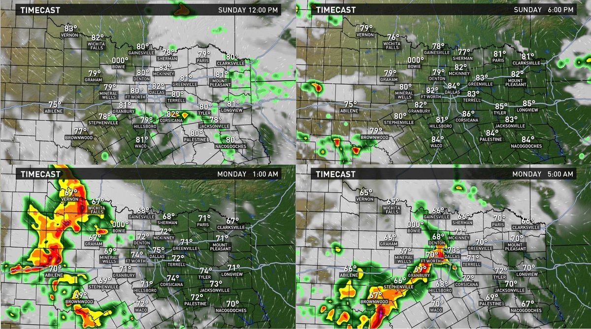 North TX dries out today. T-storms in West TX tonight. Head towards DFW by AM. Heavy rain main concern wfaaweather