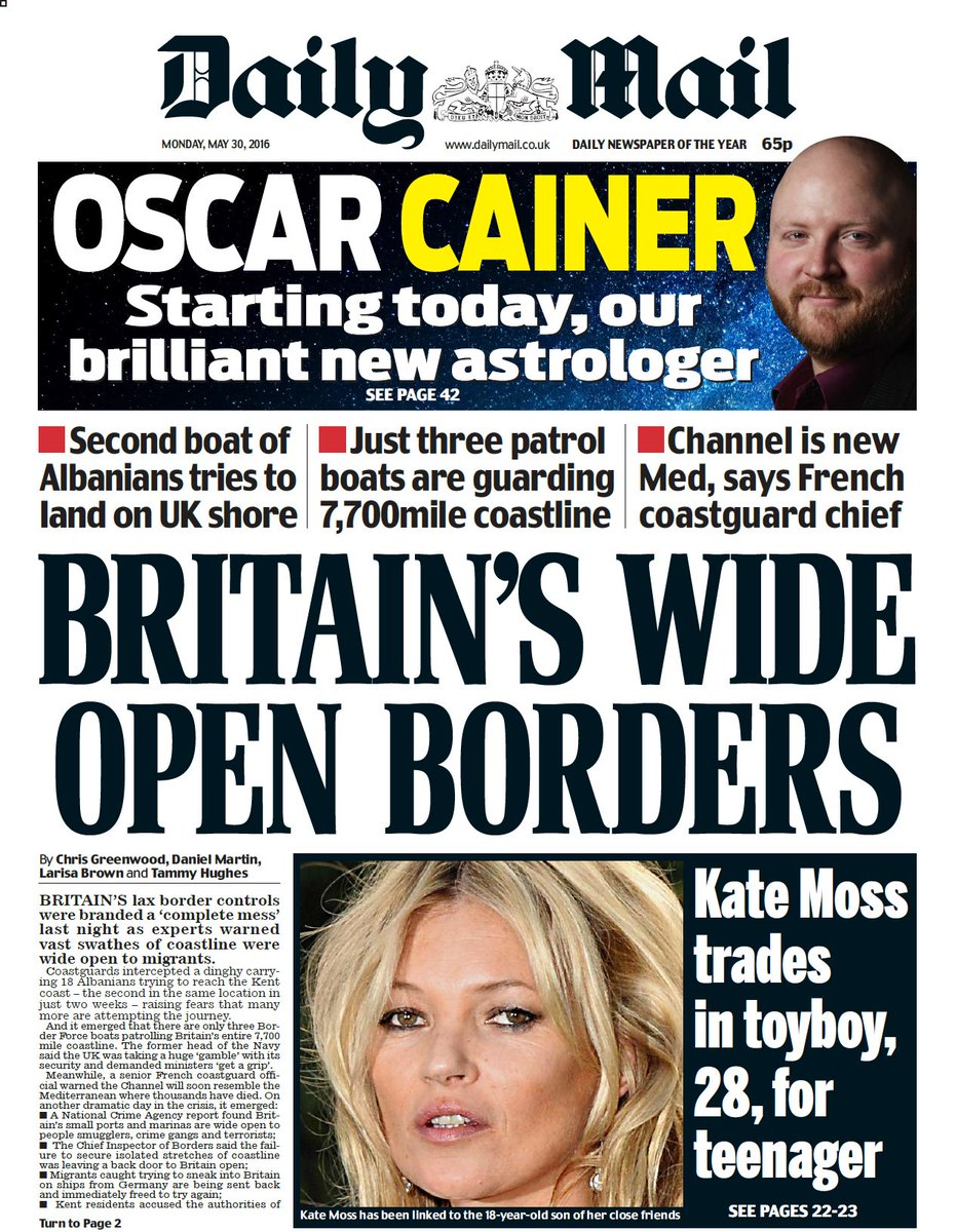 Monday's daily mail front page: britain's wide open ...