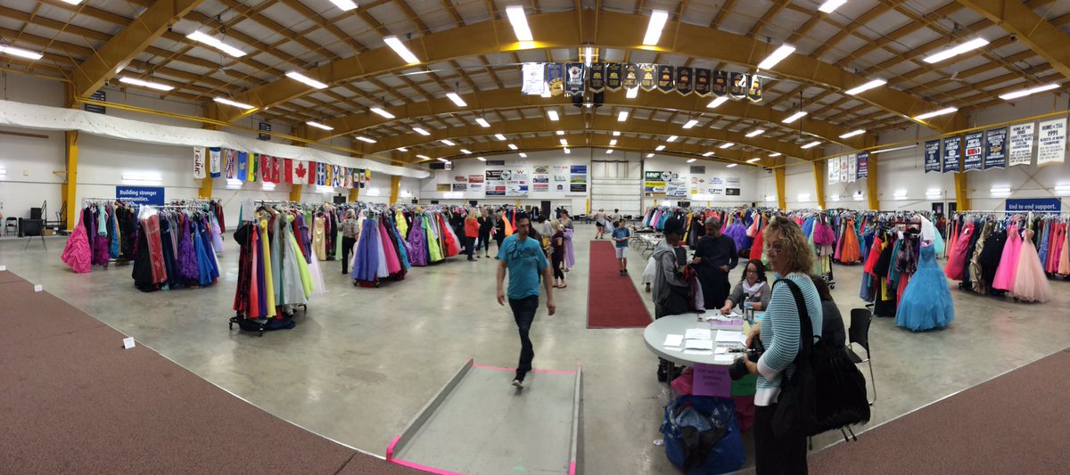 Racks and racks of dresses at the Leduc Rec Centre. Fort McMurray students picking out grad outfits ymm ymmfire