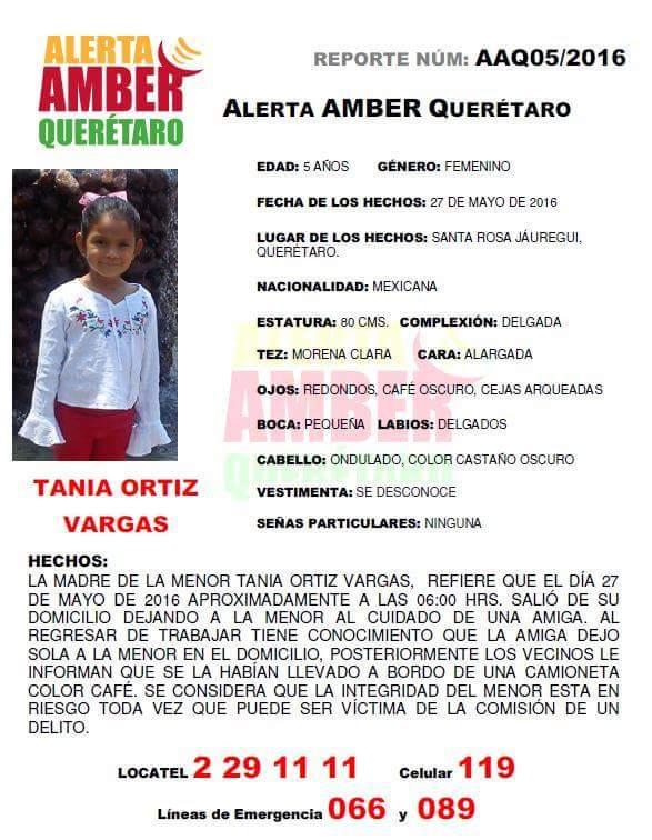 #AlertaAmber Solicitamos su colaboración para la localización de TANIA ORTIZ VARGAS. Favor de dar RT. https://t.co/YcVQBdsrbz