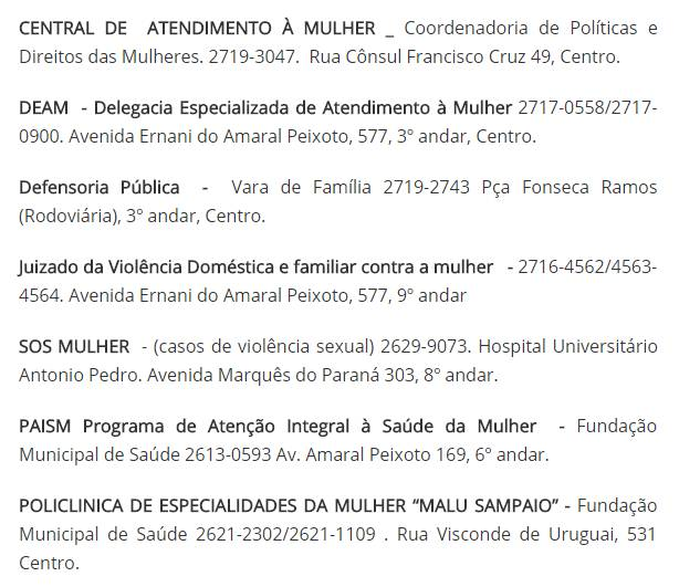 Núcleos de atendimento à mulher em Niterói. Há também a Central de Atendimento à Mulher no número 180 https://t.co/n65K6cBR7d