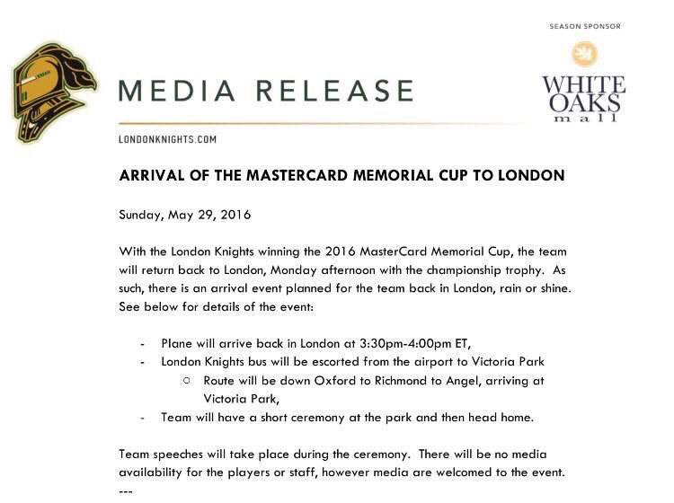The @GoLondonKnights #MCMemorialCup celebration starts tomorrow at 4pm in Victoria Park. Join us! https://t.co/94P1Uy8uRD