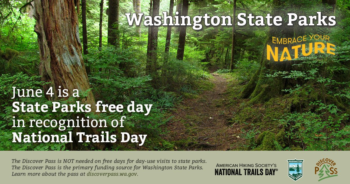 Celebrate #NationalTrailsDay by visiting a state park for free! No Discover Pass needed on June 4. https://t.co/hzerNNMCcn