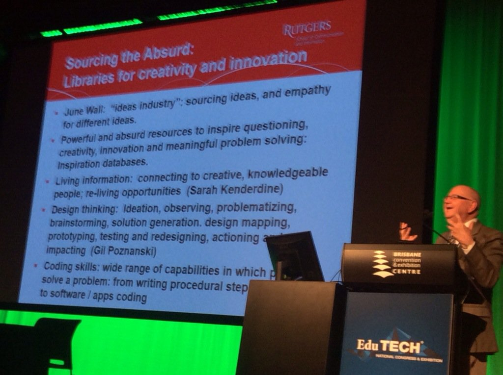 Dr Todd on Libraries for creativity and innovation. #EduTECHAU https://t.co/D5YJRvG2K6