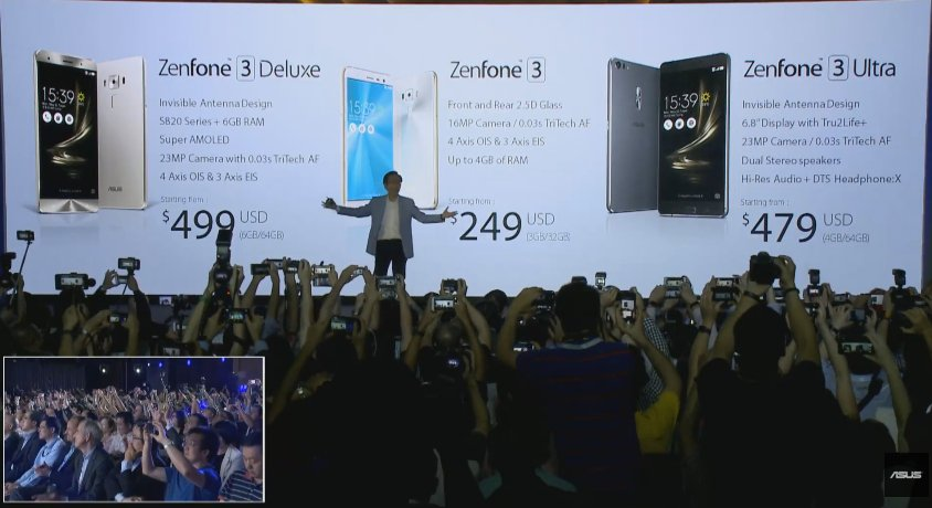 ZenFone 3 / 249ドル、ZenFone 3 Ultra / 479ドル、ZenFone 3 Deluxe / 499ドル。 https://t.co/eh9Uhgp0Bb