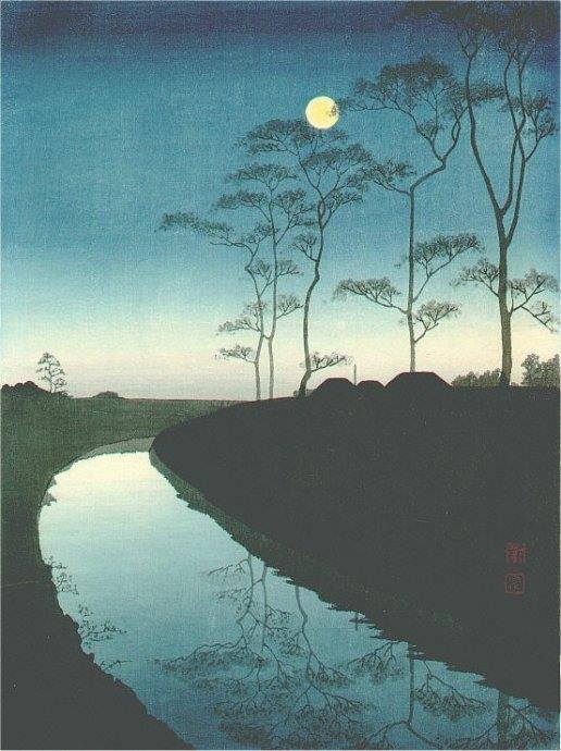 Shoda Koho  'Moonlight on the canal'  #landscape #painting https://t.c...