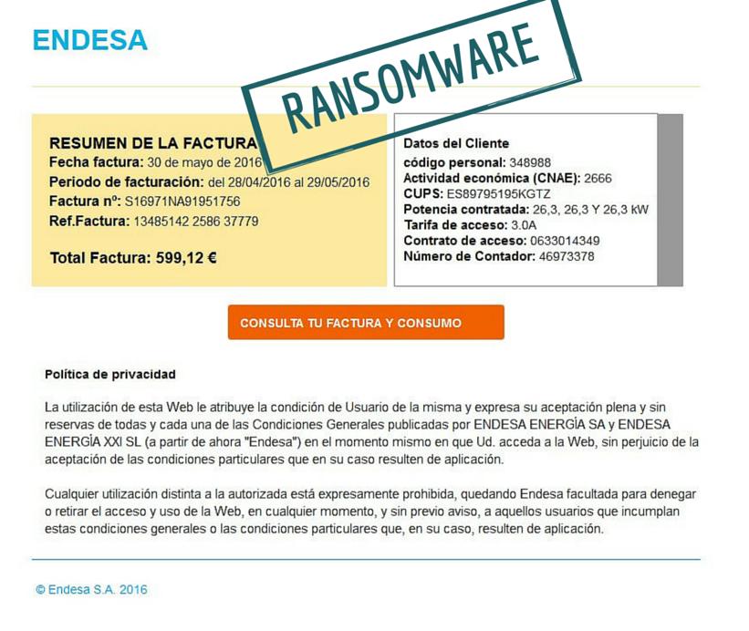 [ALERTA] Nueva campaña de #ransomware utiliza a @EndesaClientes para cifrar los PC de sus clientes y pedir rescate https://t.co/BUrmkTrgSF