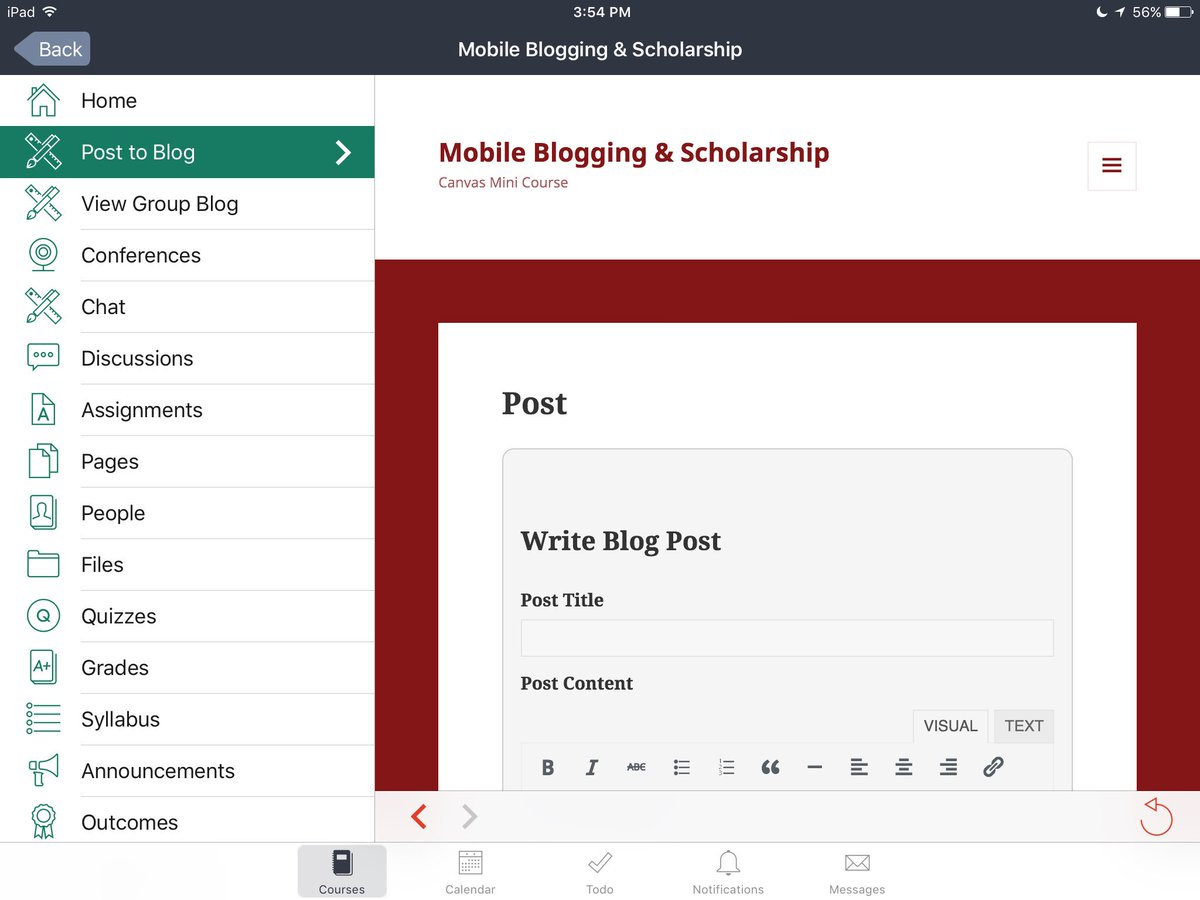 via @KeeganSLW excited as I put the finishing touches on my course. Look, blog from @CanvasLMS interface! https://t.co/opQ9JOn5Lu #OU2Canvas