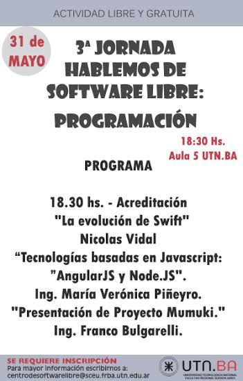 "3er Jornada Gratuita: ""Hablemos de Software Libre: programación"""