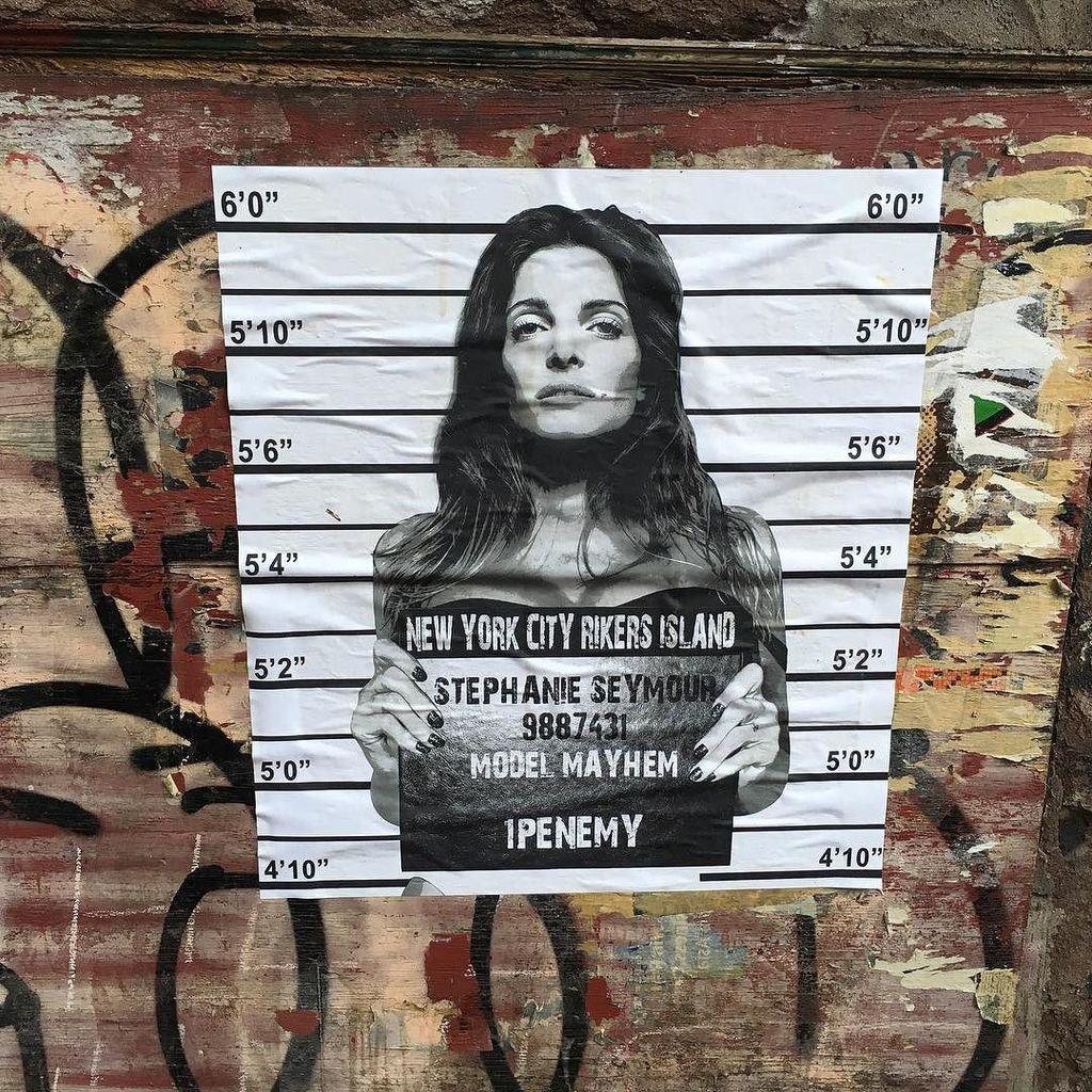 """Stephanie Seymour """"Model Mayhem"""" by @1penemy #1penemy #stephanieseymour #modelmayhem #mugshot #wheatpaste #pasteup …"""