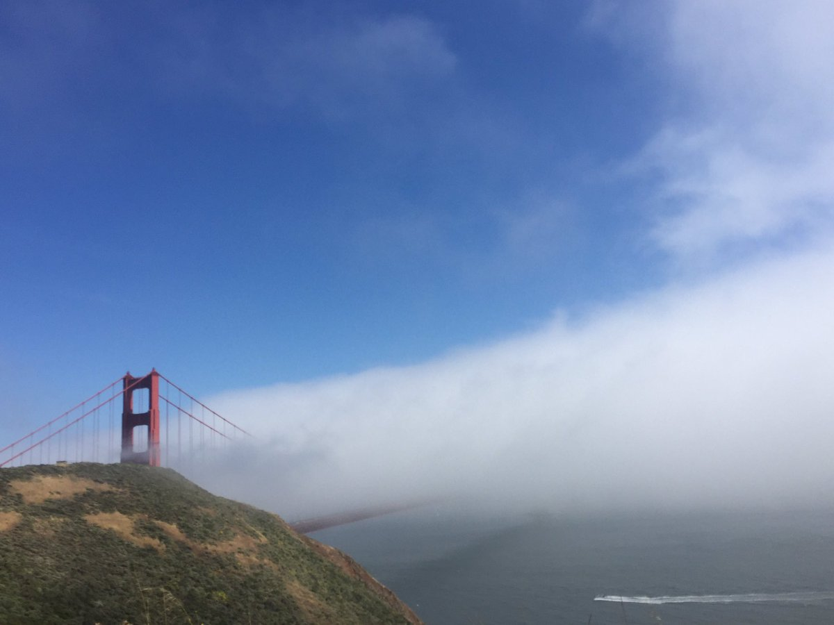 Back to the city. Looks like @KarlTheFog is enjoying his bridge lunch ⛅️ https://t.co/PJH3piyGDS