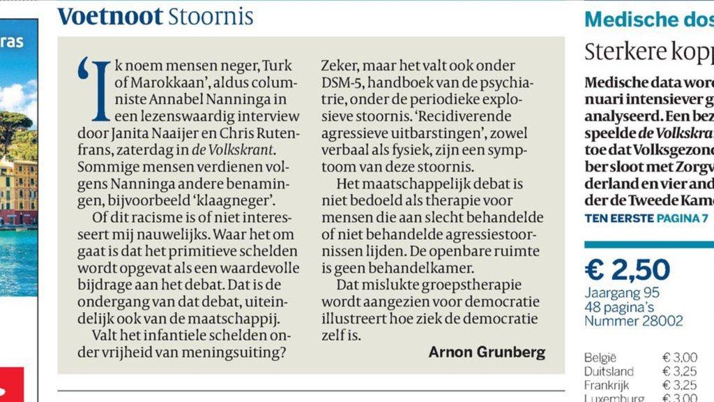 Kan het alleen maar verschrikkelijk eens zijn met wat Arnon Grunberg vandaag in voetnoot op voorpagina #Vk schrijft. https://t.co/HjlZQIsBVX