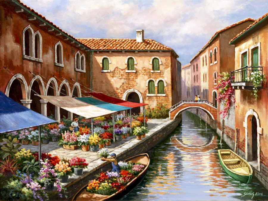 Sung Kim Flower Market on the Canal #Venice #landscape #painting