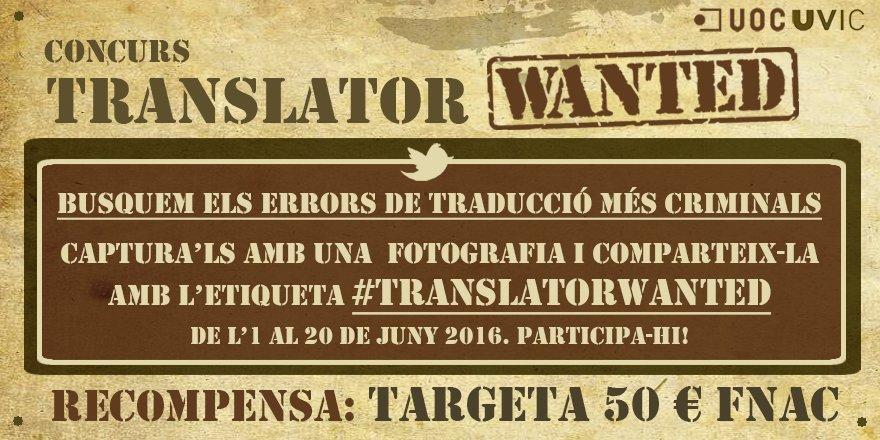 Eps! Demà comença el concurs #TRANSLATORWANTED: reivindiquem la figura del traductor https://t.co/GVm0G2cvxD https://t.co/bwDydZ39Nj