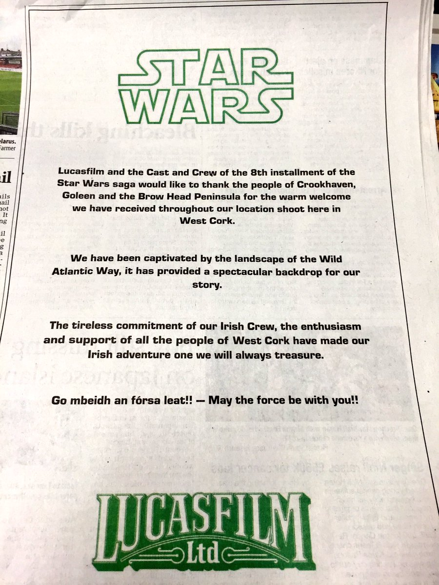 "Ever wonder what ""may the force be with you"" is in Irish? Check out @DisneyLucasfilm ad #WildAtlanticWay #statwars https://t.co/SL4Uv8Csmw"