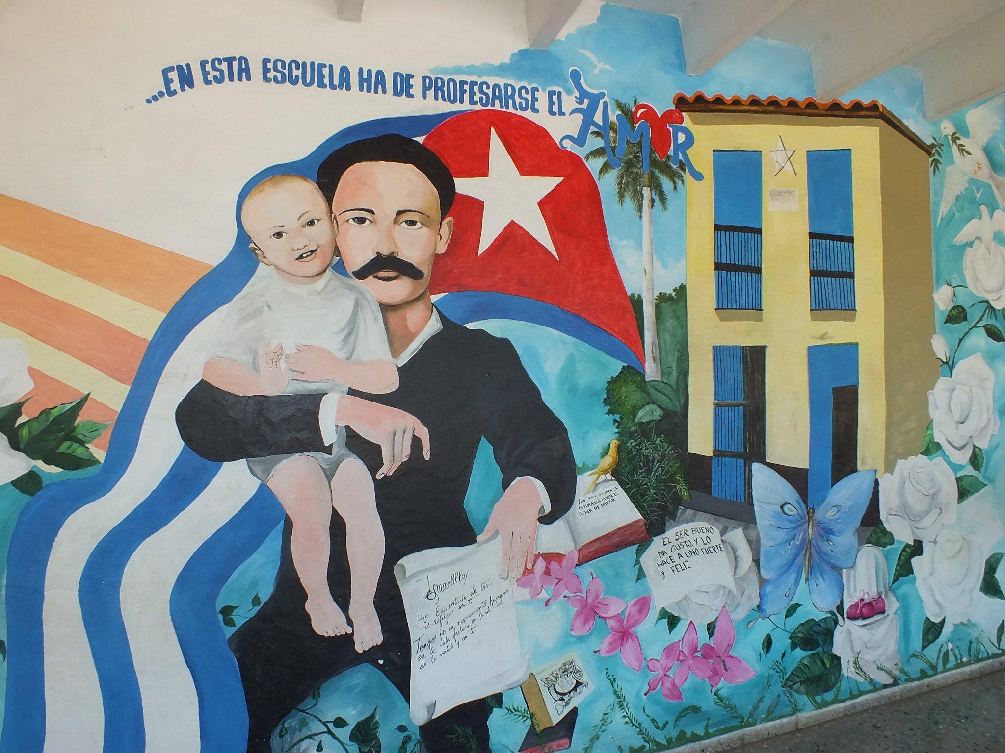 Pintura de José Martí en una de las paredes de la escuela Solidaridad con Panamá