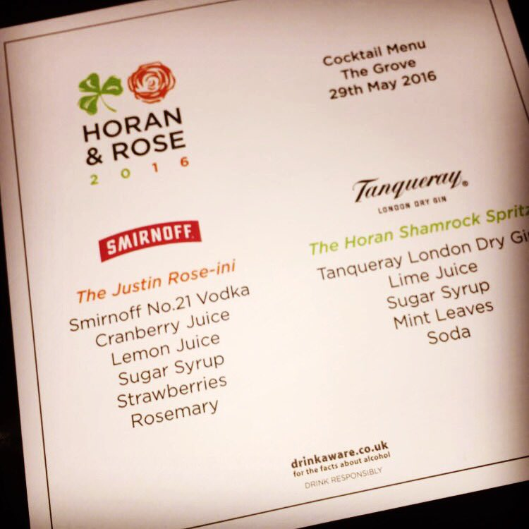 Drinks were flowing @JustinRose99 @NiallOfficial @CR_UK  event. @SmirnoffEurope @tanqueraygins https://t.co/VwdnMqRx3J