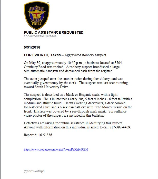 ***PUBLIC ASSISTANCE REQUESTED***Aggravated Robbery Suspect - video link to be Tweeted Separately RT