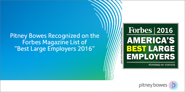 "@PitneyBowes Recognized on @Forbes Magazine List of ""Best Large Employers 2016"" https://t.co/6zbi6SX4Qy #PBemp https://t.co/CC70yTcOAg"