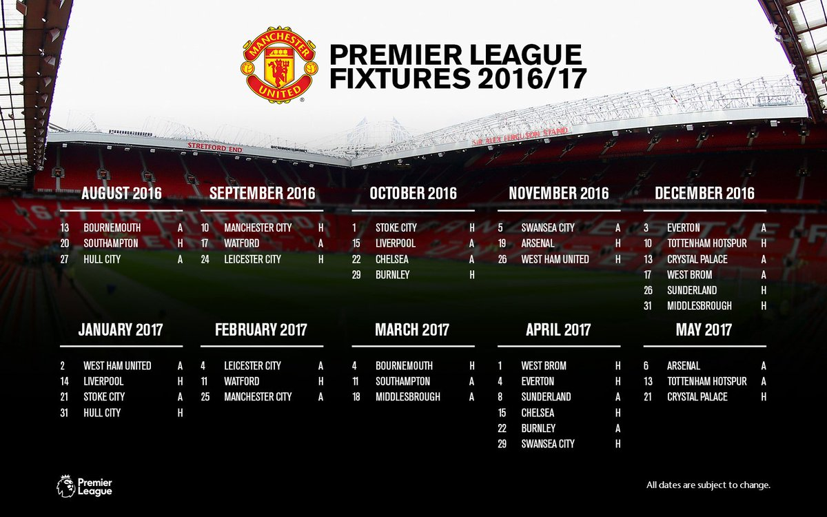 Calendario Manchester United.Manchester United On Twitter Here Are Our 2016 17
