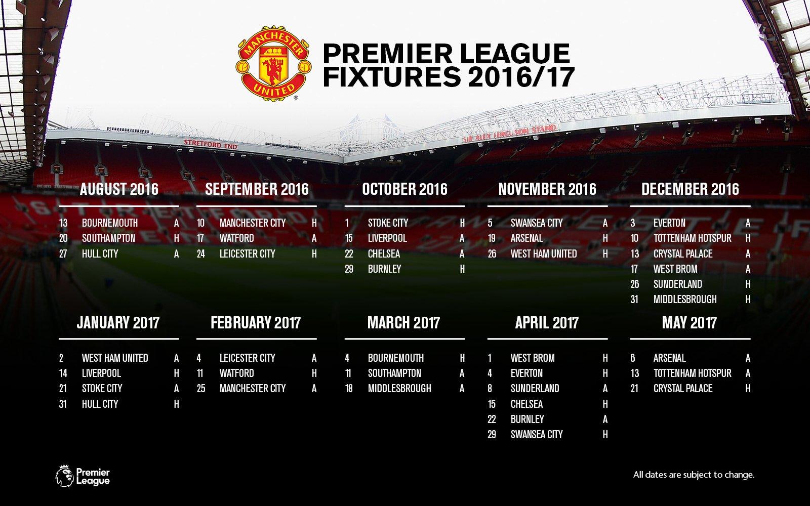 Man United & Man City Premier League fixture list 2016-17