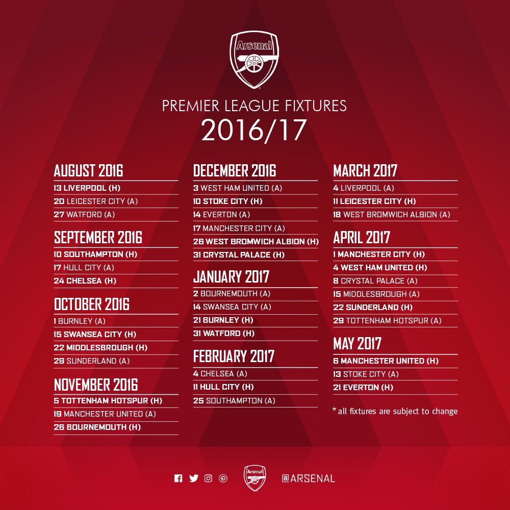 201617 premier league fixtures arsenal open against