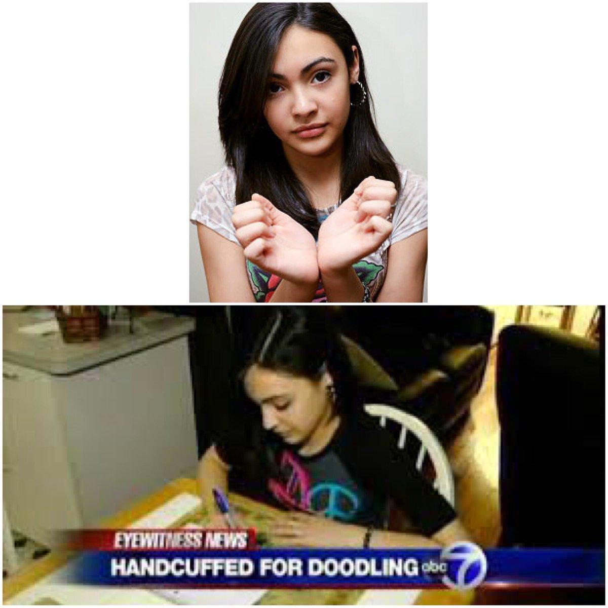 نتيجة بحث الصور عن Queens girl Alexa Gonzalez hauled out of school in handcuffs after getting caught doodling on desk