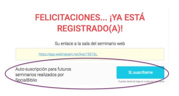 Thumbnail for Autosuscripción a los webinar de SocialBiblio