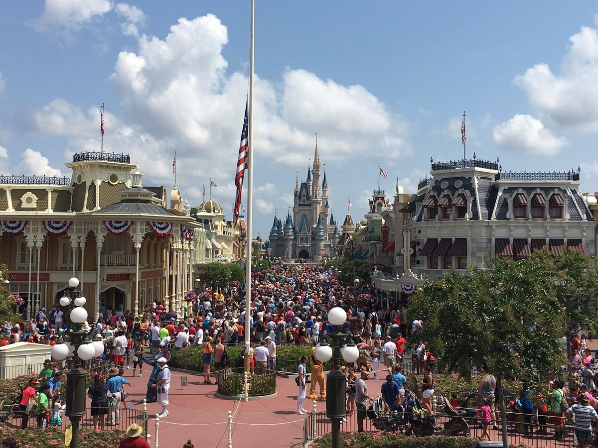 Now half-staff at Magic Kingdom. Main Street is packed. https://t.co/CReFpOaXds