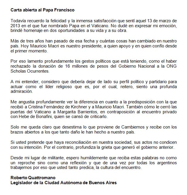 Carta abierta al Papa Francisco. https://t.co/QaFIqSSFpR