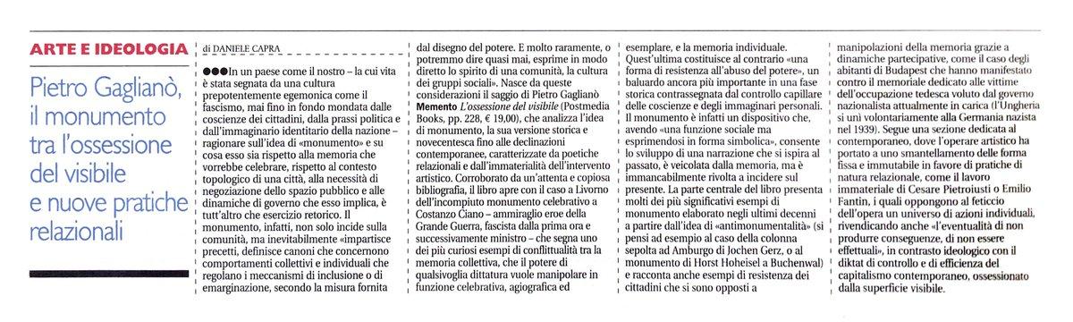 Su #Alias de @ilmanifesto mio pezzo su #memento #ossessionedelvisibile di @PietroGagliano edito da @postmediabooks
