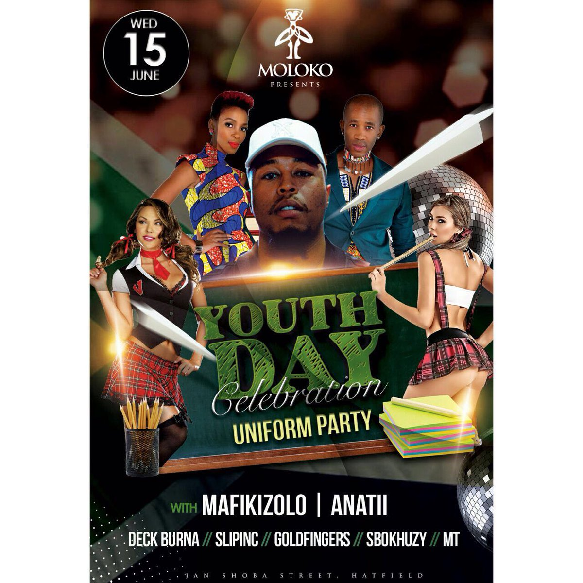 #YouthDayCelebration @molokopretoria this Wednesday. Featuring @MafikizoloSA & @ANATII LIVE. Join the parry bro. https://t.co/xODyMftBWP