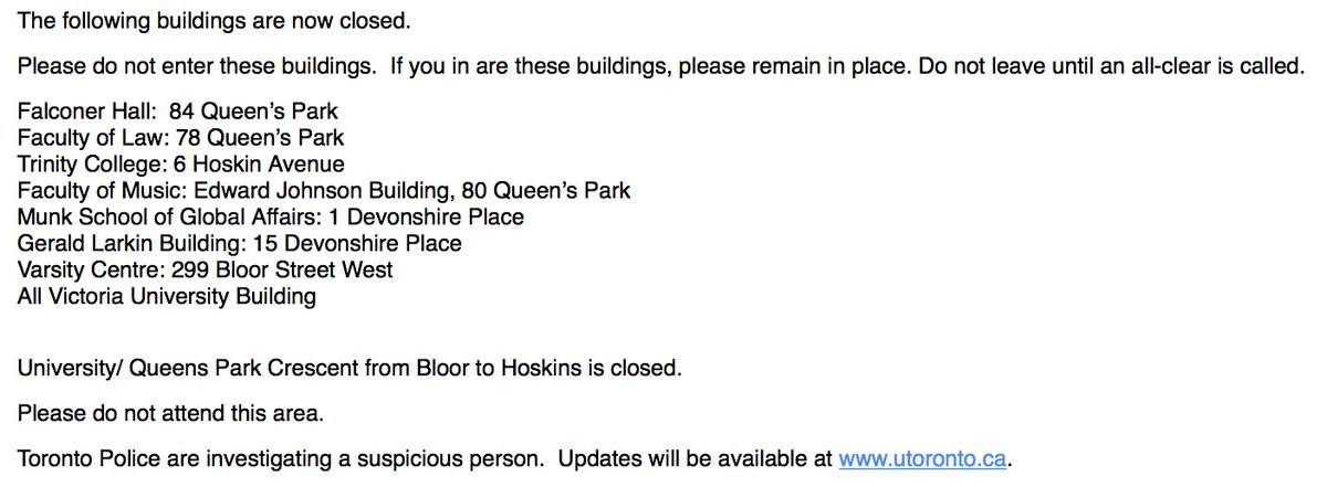 #UofT Safety Alert: updates will be posted to https://t.co/PUkcHDh4jk https://t.co/jbL7cB5pv4