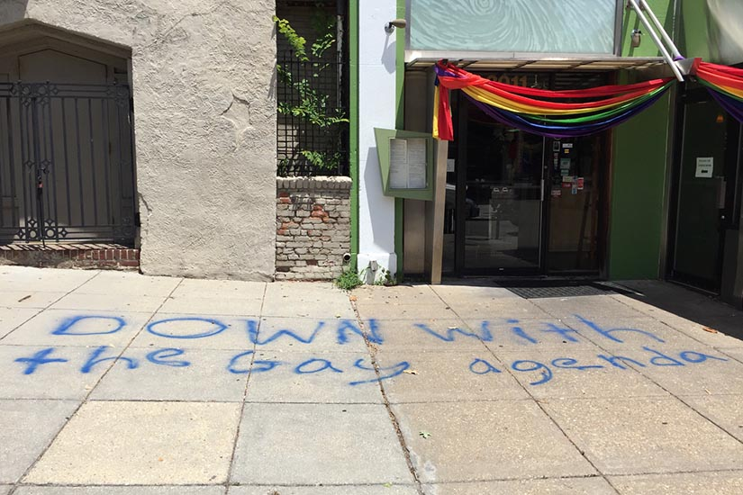 Someone spray painted this anti-gay message on a sidewalk in Dupont Circle over the weekend https://t.co/id0MyViaR5 https://t.co/GPGx3ror5G