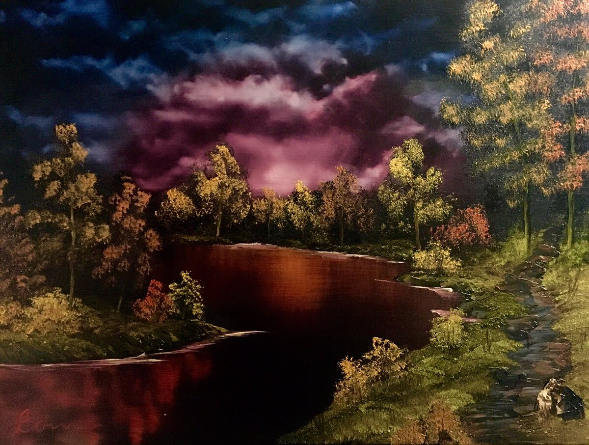 Almighty Painting On Twitter S2e6 Black River Another Canvas Not Dissimilar To S2e Ebony Sea Bobross Thejoyofpainting