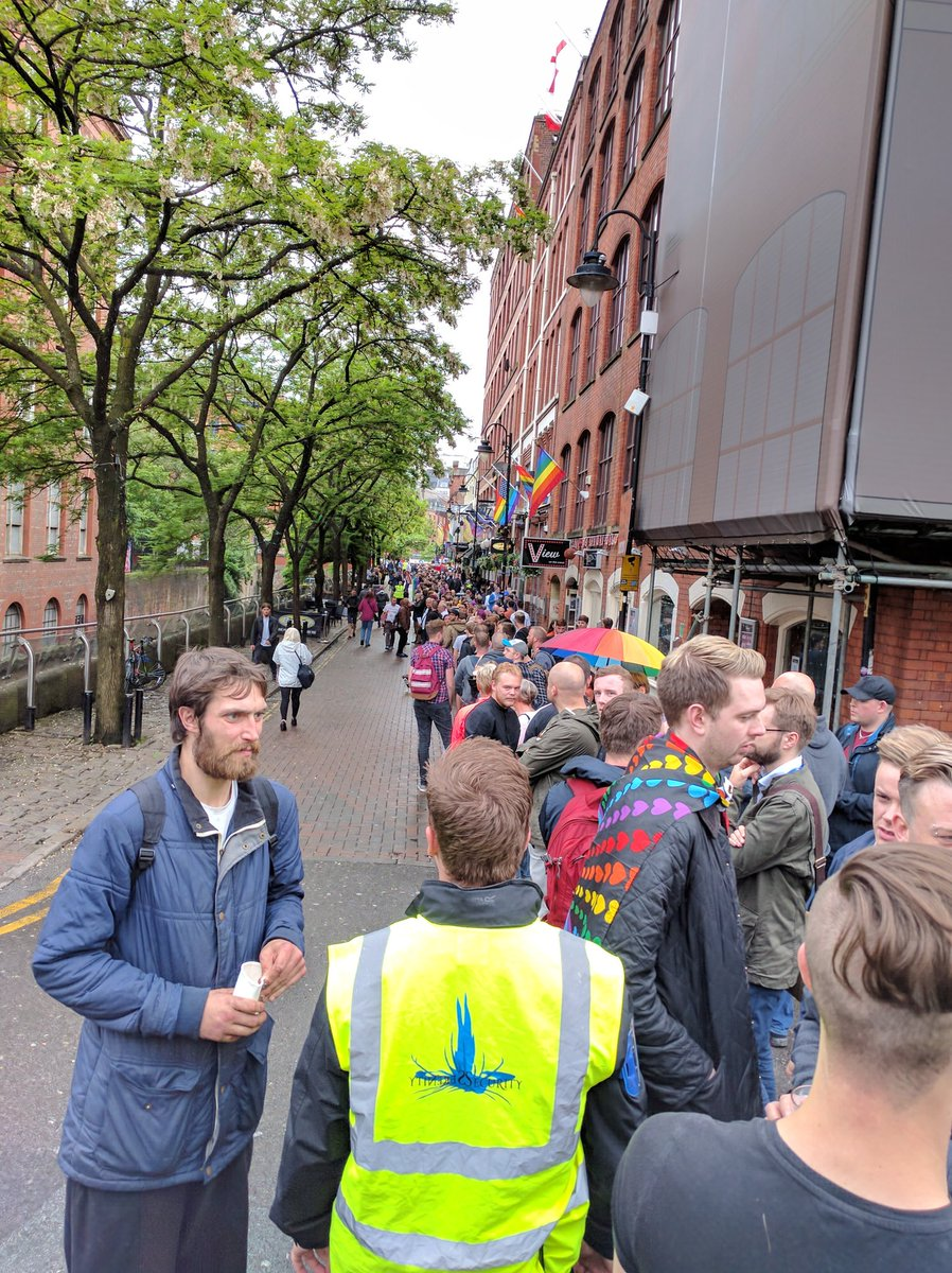 Straight, gay, bi, trans, questioning, and just plain queer people form a ring around MCR gay village. #LoveIsLove https://t.co/HYiJCgzy7k