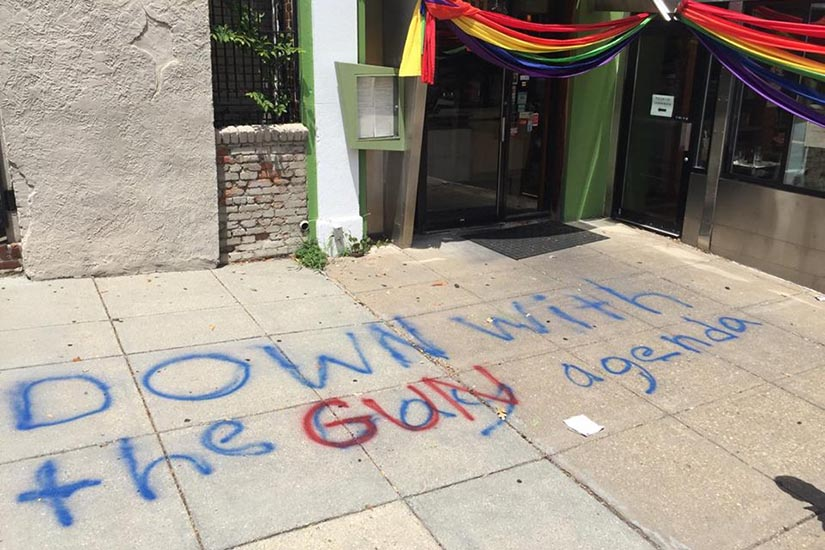 """UPDATE: The anti-gay graffiti has been altered to read """"down with the gun agenda"""" https://t.co/id0MyViaR5 https://t.co/x3KK4T8naa"""