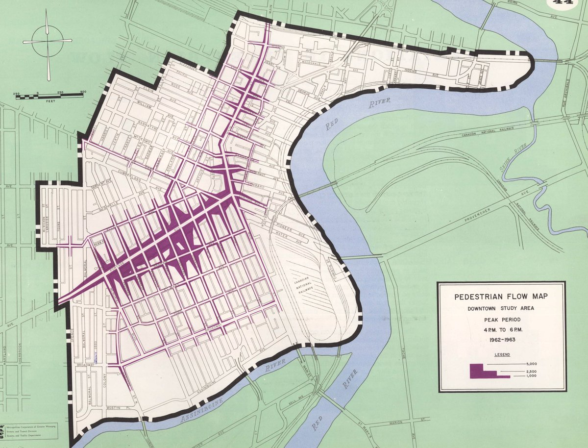 Brent Bellamy on Twitter Downtown Winnipeg pedestrian flow map