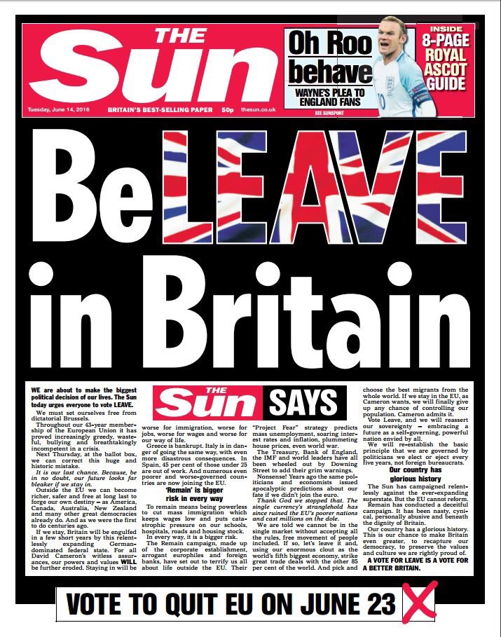 Oh yes, set ourselves free from dictatorial Brussels and stick to having our fate decided by Rupert Fucking Murdoch. https://t.co/pld6nZb5xq