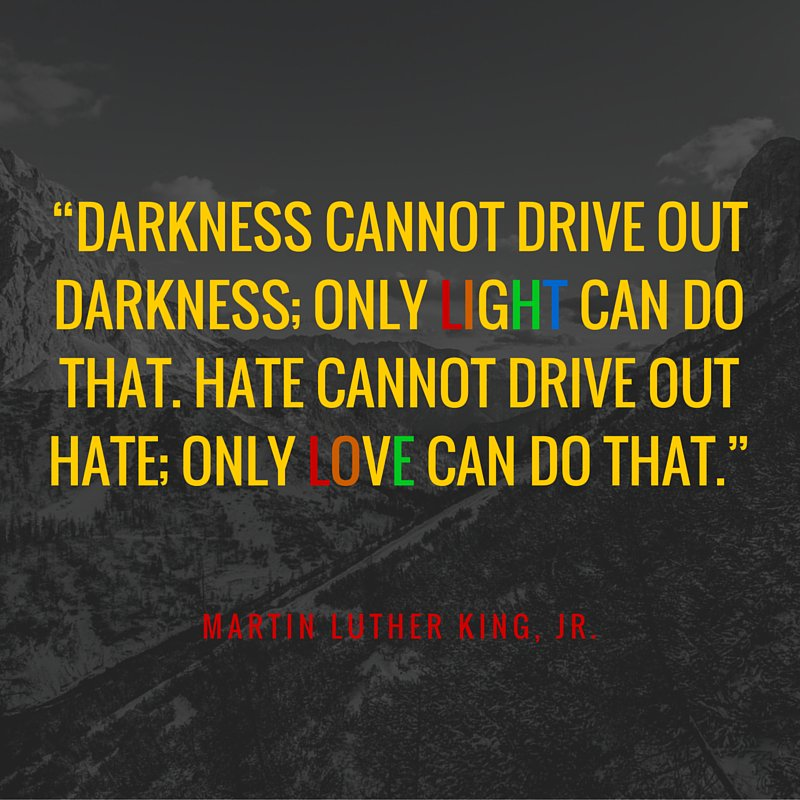 """Darkness cannot drive out darkness;only light can do that.Hate cannot drive out hate; only <3 can do that"" #orlando https://t.co/AMRI5lsFSz"