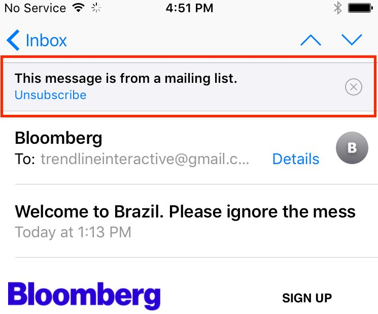 "Unsubscribe prompt before subject line in iOS 10 beta. Hitting the ""x"" removes it permanently from that sender. https://t.co/1EpVNoChI5"