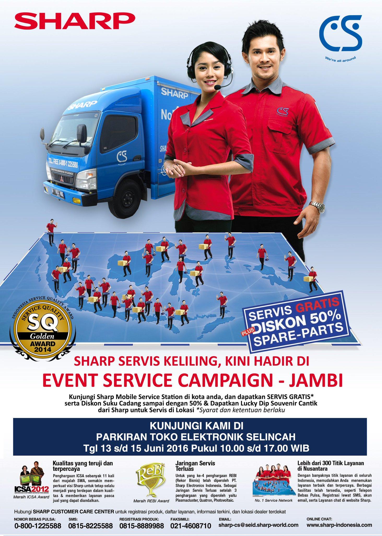 Sharpindonesia u05d1u05d8u05d5u05d5u05d9u05d8u05e8 Sharp Mobile Service Station Hadir Di Jambi Dapatkan Promo Service Gratis Dan Diskon Sparepart