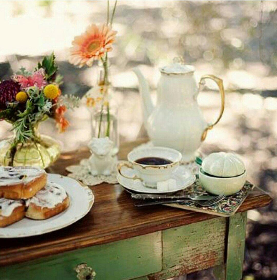 Открытки накрытый стол для утреннего чаепития и слова доброе утро, голосовые открытки