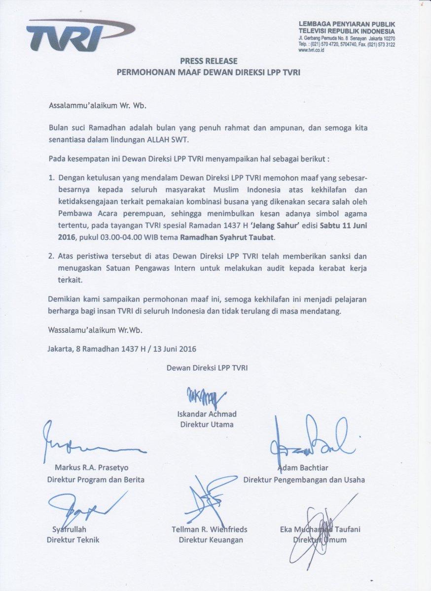 Tvri Siaran Nasional On Twitter Press Release Permohonan